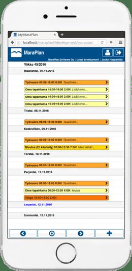 MaraPlan työvuorosuunnittelu - Mobiilinäkymä